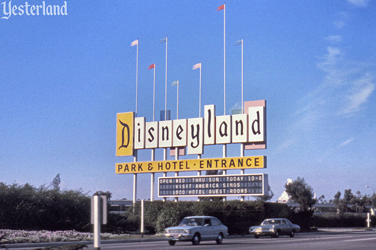 Disneyland's iconic Harbor Blvd. sign in 1974