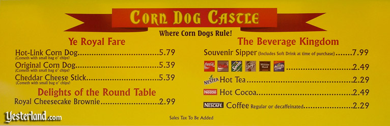 Corn Dog Castle menu board in 2004
