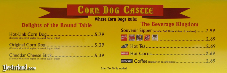 Corn Dog Castle menu board in 2007