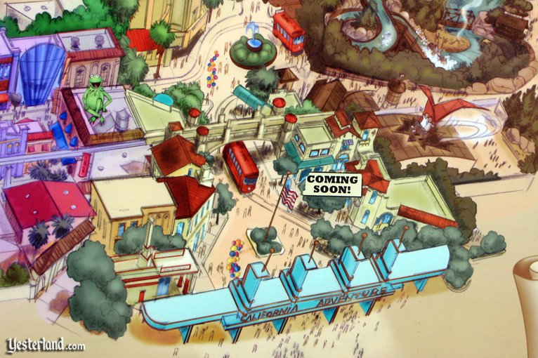 Map excerpt showing new entrance to Disney's California Adventure
