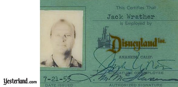 Jack Wrather's Disneyland Inc. ID card