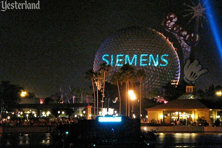 Spaceship Earth at night with Siemens projection