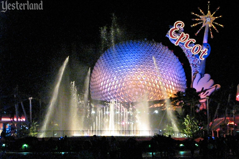 Epcot Icon Tower and Spaceship Earth with fountain at night