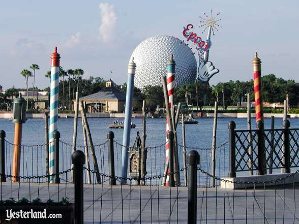 Photo of Epcot Icon Tower and Spaceship Earth from Italy
