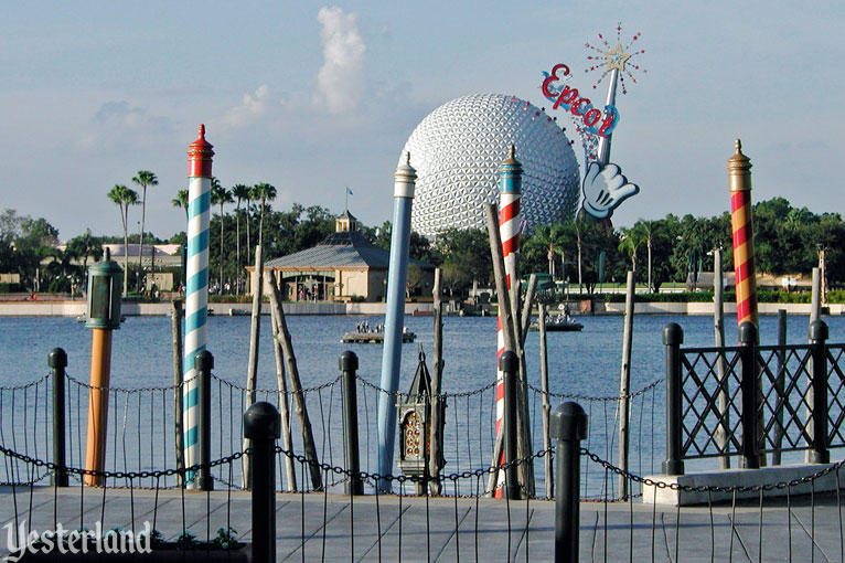 Epcot Icon Tower and Spaceship Earth from Italy