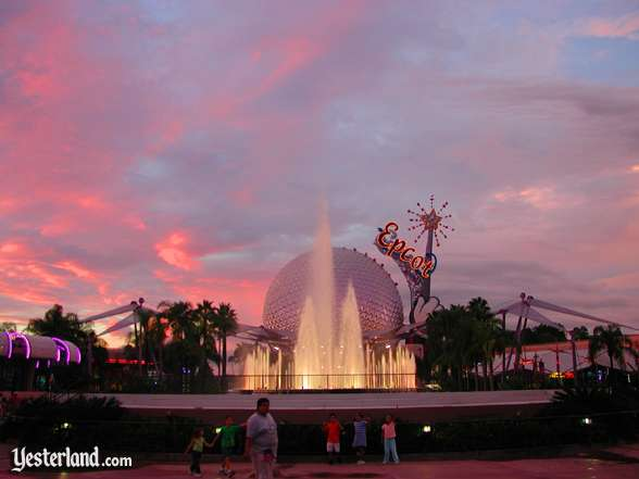 Photo of Epcot Icon Tower and Spaceship Earth at sunset
