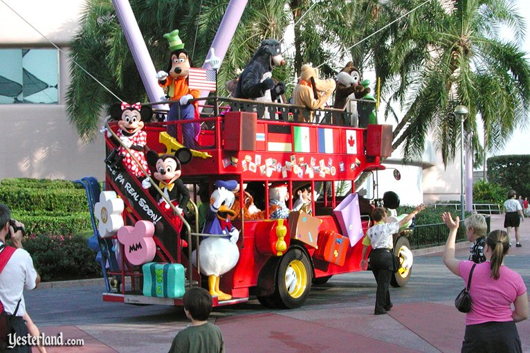 Characters on Holiday double-decker bus at Epcot