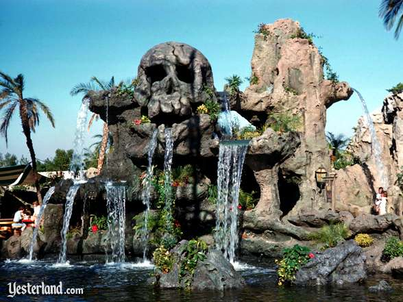 Photo of Skull Rock with flowers and waterfalls