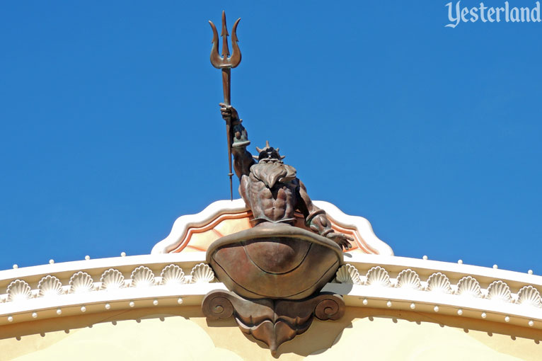 King Triton on the Little Mermaid building at Disney California  Adventure