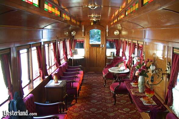 Interior of Lilly Belle parlor car on the Disneyland Railroad