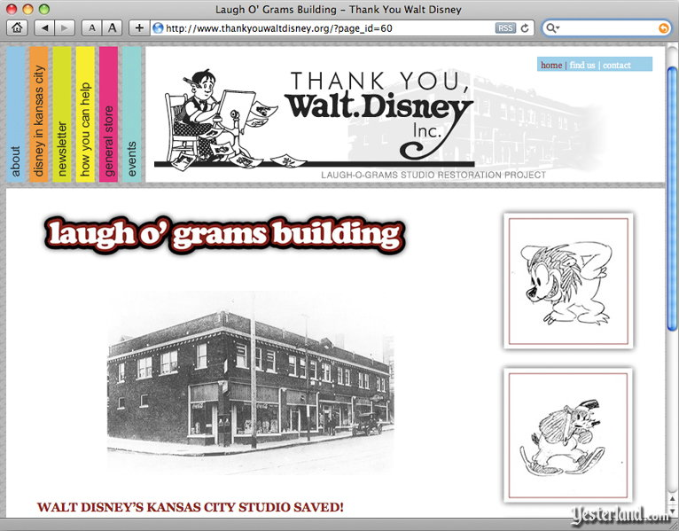 screen capture of the Thank You Walt Disney Inc. website