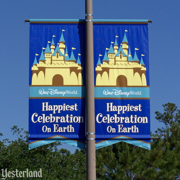 """Happiest Celebration on Earth"" banner"