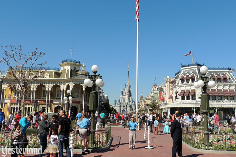 Looking up Main Street, U.S.A., Magic Kingdom, 2016