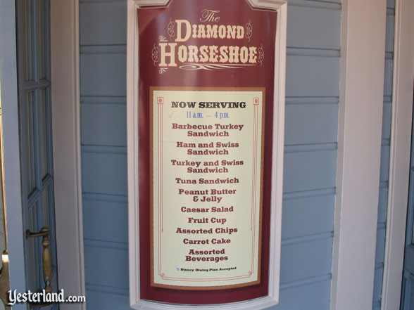 Diamond Horseshoe menu