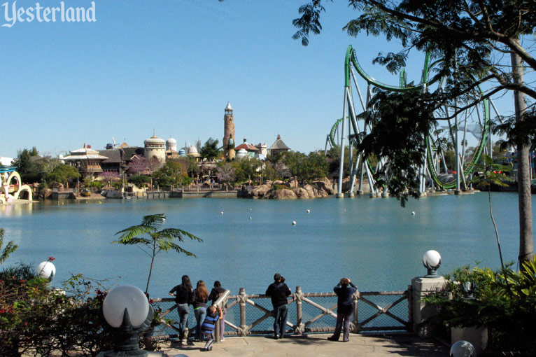Looking across the lagoon at Universal's Islands of Adventure