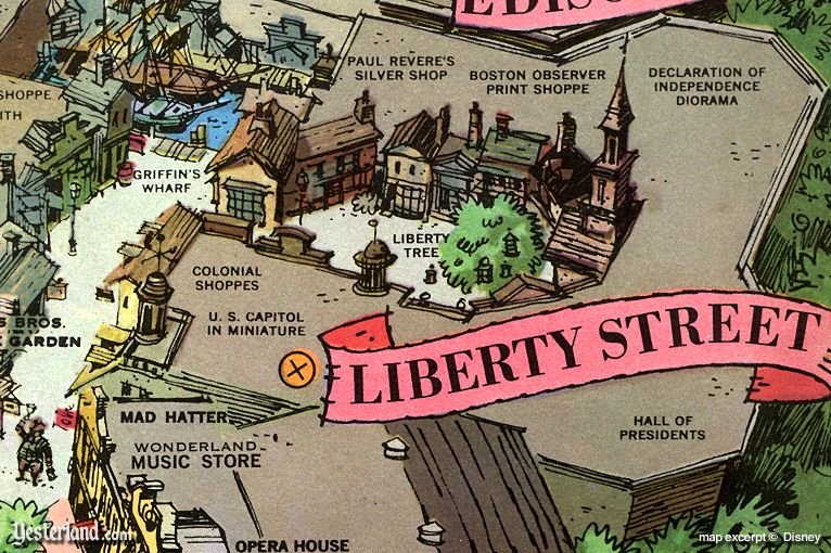 Liberty Street, as shown on the 1964 souvenir map of Disneyland