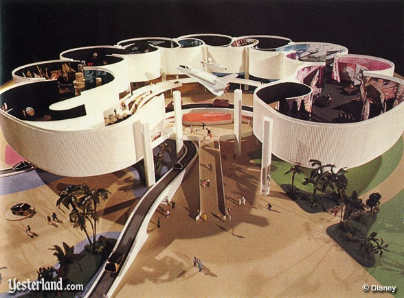 Transportation Pavilion concept from the 1977 Annual Report of Walt Disney Productions