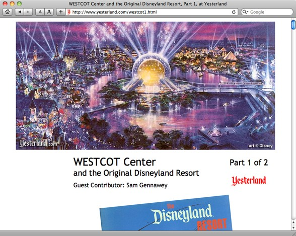 WESTCOT article for Yesterland by Sam Gennawey