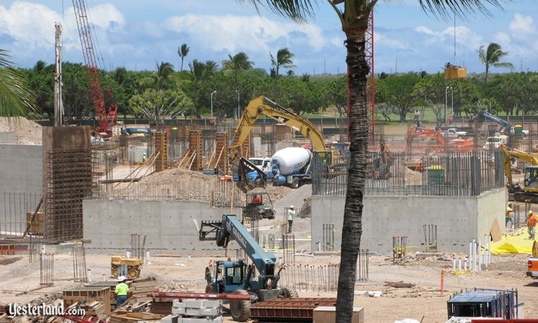 Concrete structures beginning to rise at Disney site at Ko Olina, Hawai'i