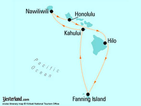 Fanning Island cruise itinerary map © Kiribati National Tourist Office