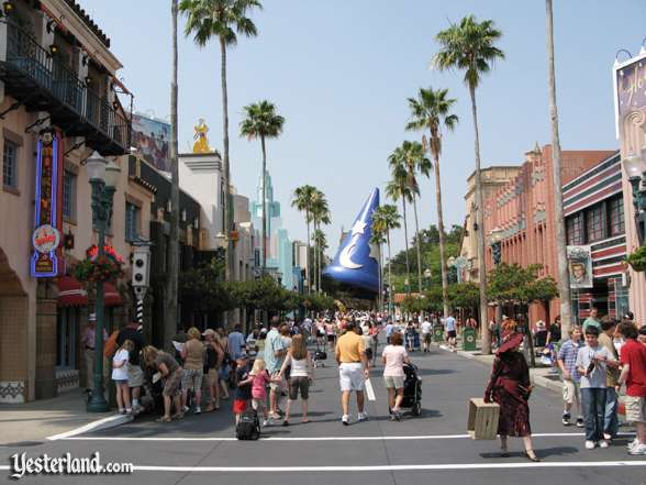 Disney's Hollywood Boulevard, with the hat hiding Grauman's Chinese Theatre