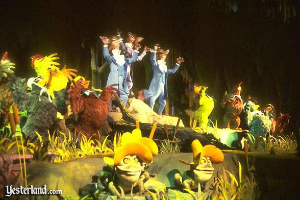 "The denizens of the swamp sing ""Down by the Riverside."""