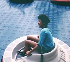Photo of a girl in a Flying Saucer