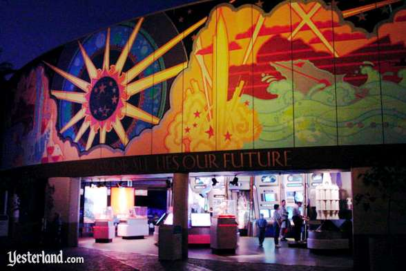 Photo of the American Space Experience, below the 1998 Tomorrowland mural