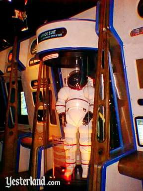 Photo of a prototype AX-5 space suit at the American Space Experience