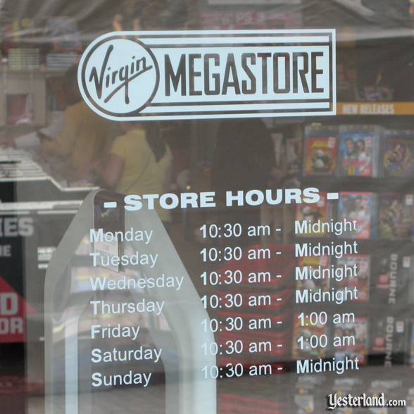 Store hours on door of Virgin Megastore at Downtown Disney, Walt Disney World