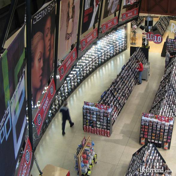 Curved wall with posters at Virgin Megastore at Downtown Disney, Walt Disney World