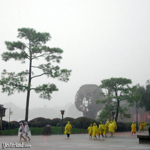 Transparent and yellow ponchos at Epcot, 2003