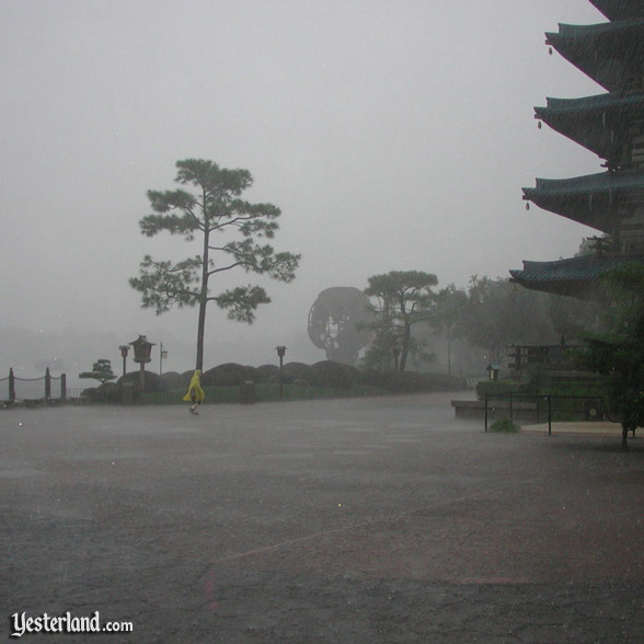 Heavy rain at Epcot, 2003