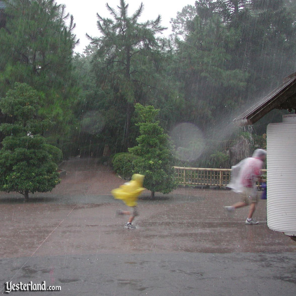 Running through rain at Epcot, 2003