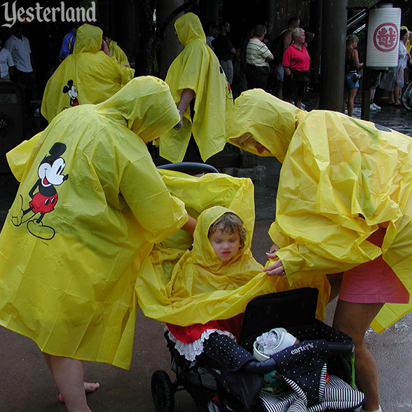 Ponchos for all ages at Epcot, 2003