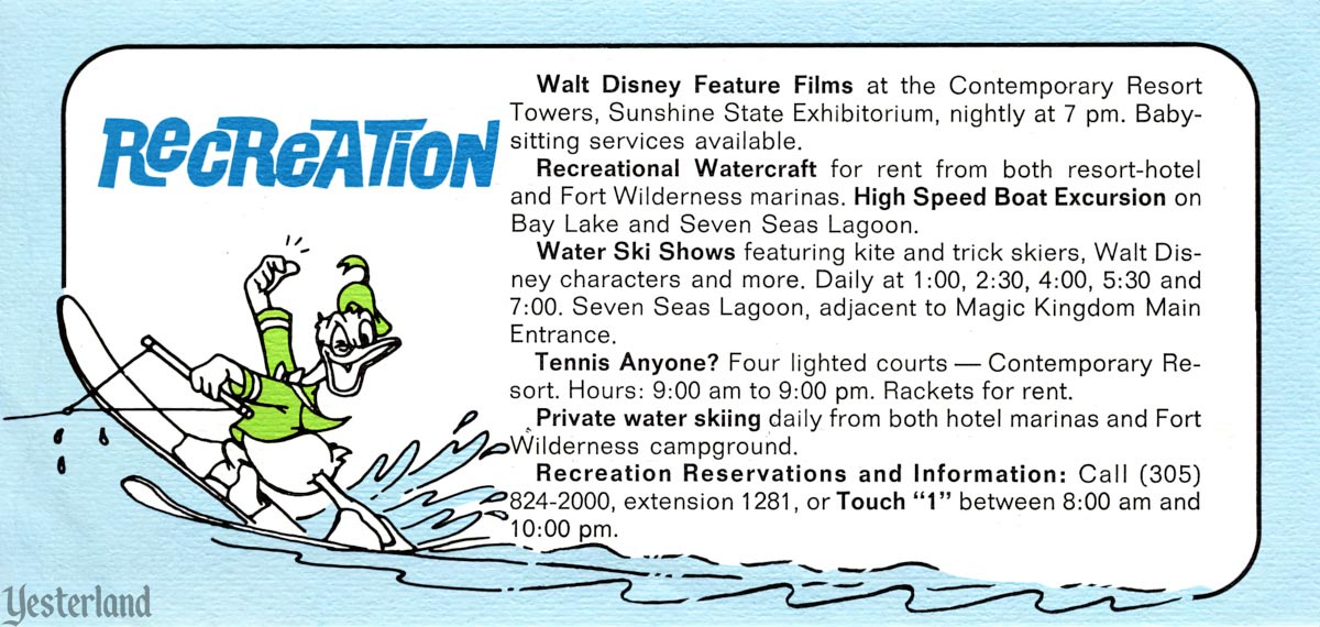 This Week at Walt Disney World, Recreation, 1972
