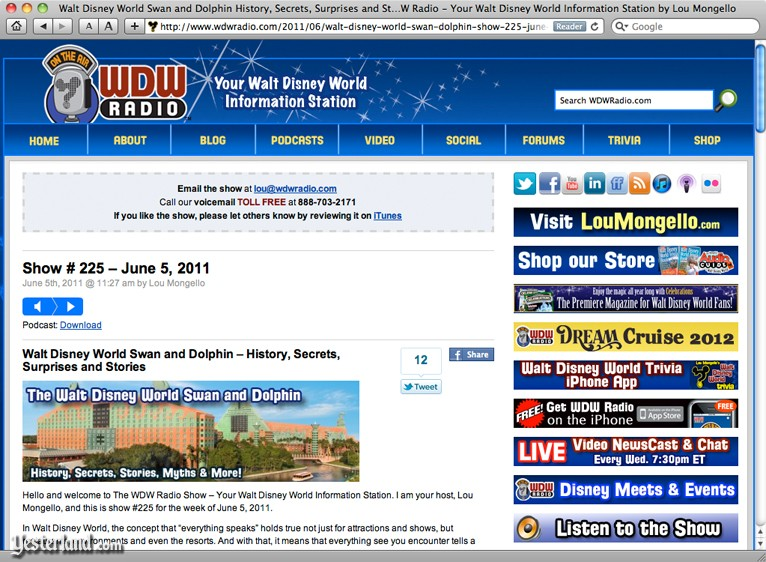 Show notes page for WDW Radio show 225