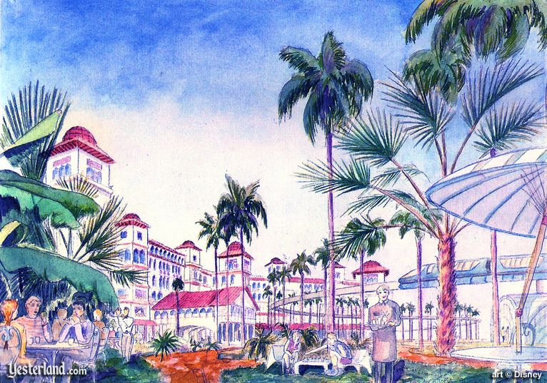 Moorish/Spanish Colonial style Hotel in the Disneyland Resort Plan of 1991
